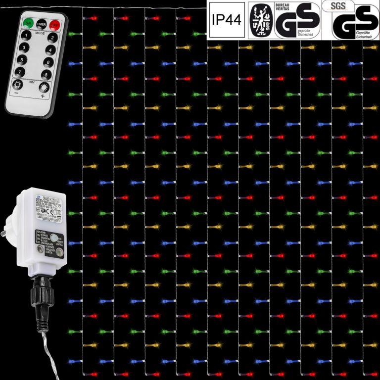 Vánoční světelný závěs – 3×6 m, 600 LED, barevný