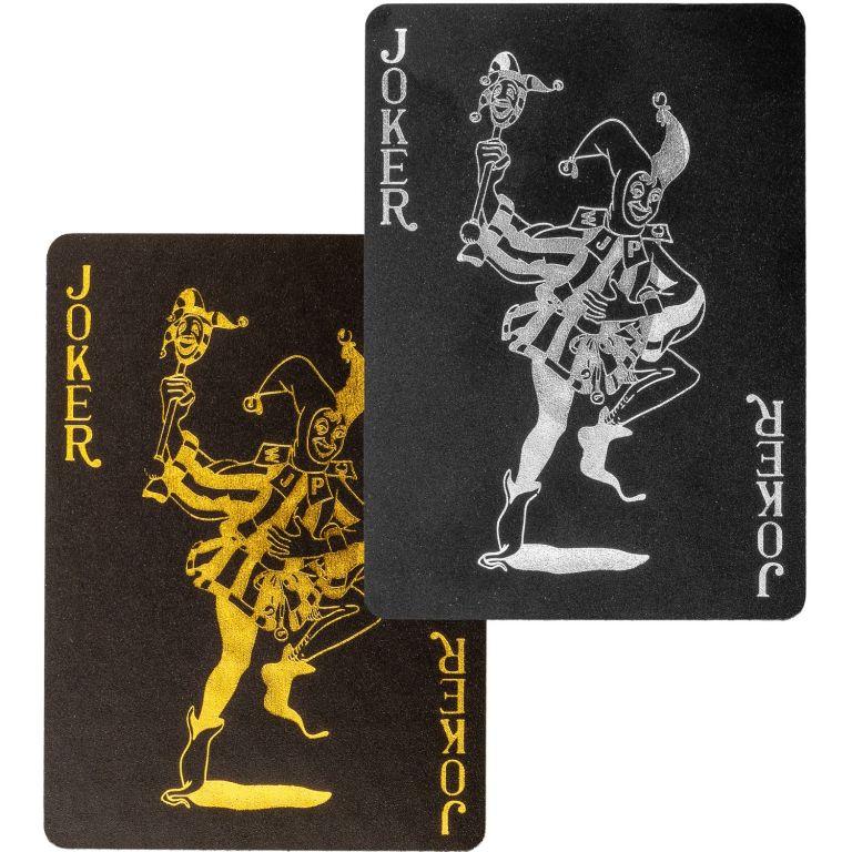 Poker karty plastové - černé/zlaté
