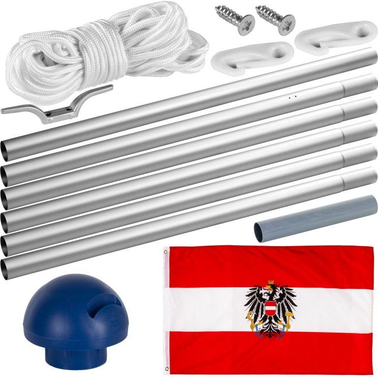 Vlajkový stožár vč. vlajky Rakousko – 650 cm