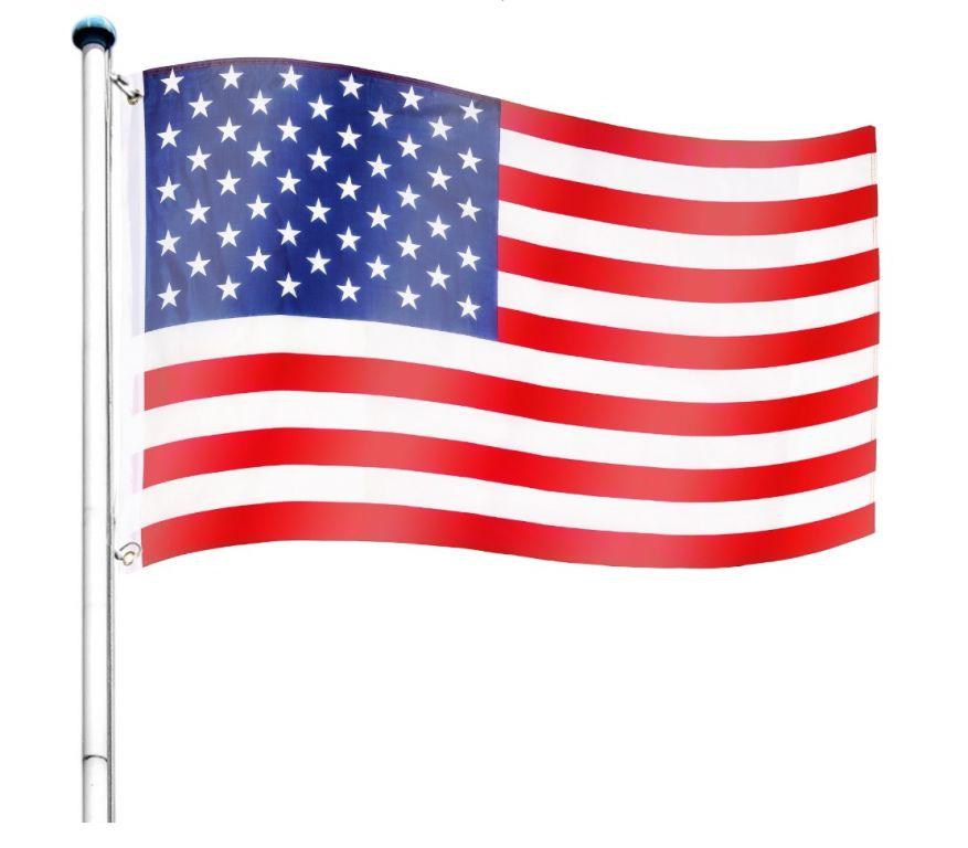 Vlajkový stožár vč. vlajky USA - 650 cm