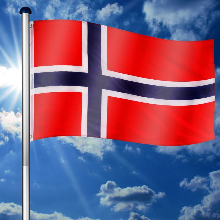 Vlajkový stožár vč. vlajky Norsko – 650 cm
