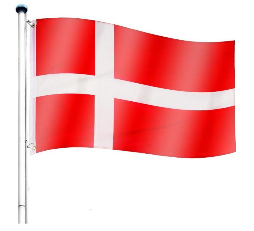Vlajkový stožár vč. vlajky Dánsko - 650 cm