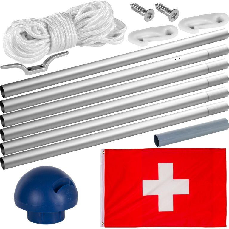 Vlajkový stožár vč. vlajky Švýcarsko - 6,50 m