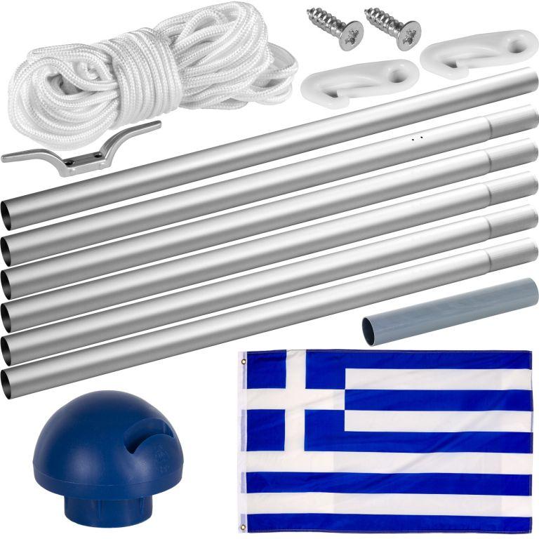 Vlajkový stožár vč. vlajky – Řecko – 6,50 m