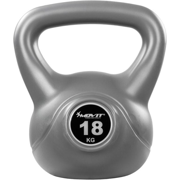 MOVIT Kettlebell činka - 18 kg, šedá/černá
