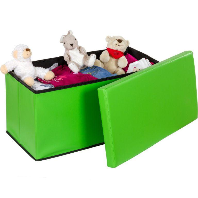 Skládací lavice s úložným prostorem - zelená
