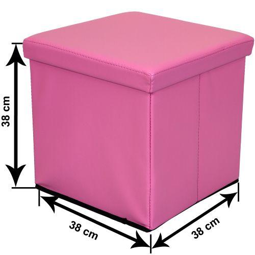 Taburet s úložným prostorem - růžová
