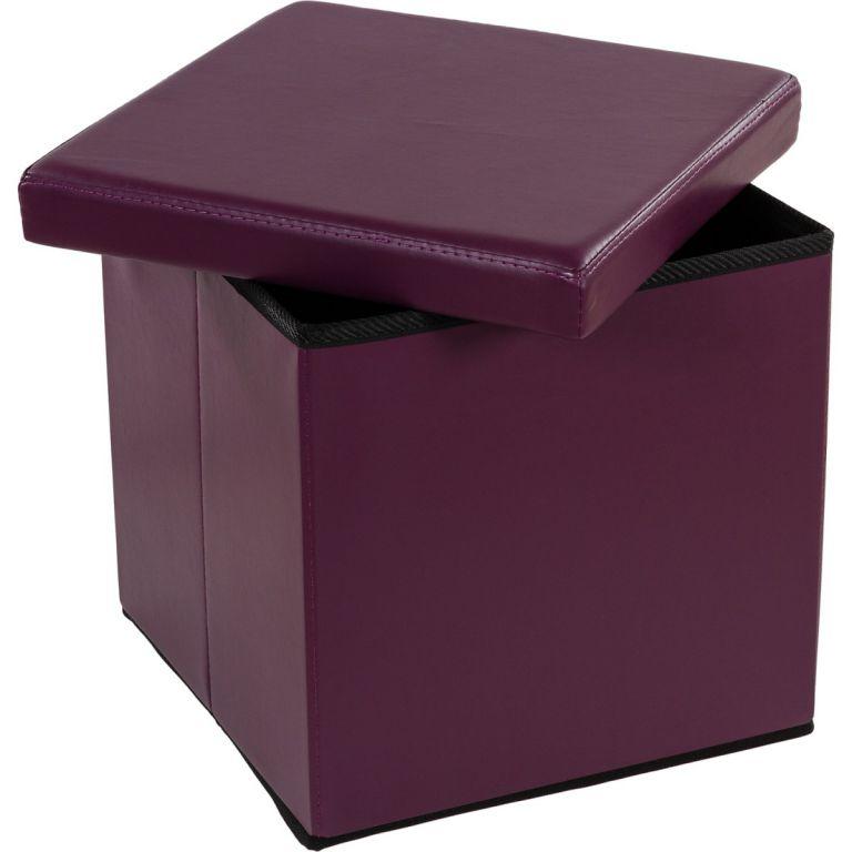 Taburet s úložným prostorem - fialová