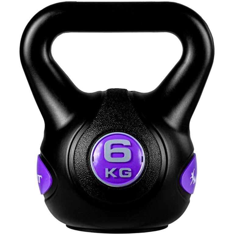 MOVIT Kettlebell činka - 6 kg, černá/fialová