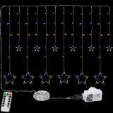 Vánoční závěs - 12 hvězd, 150 LED, teple/studeně bílý
