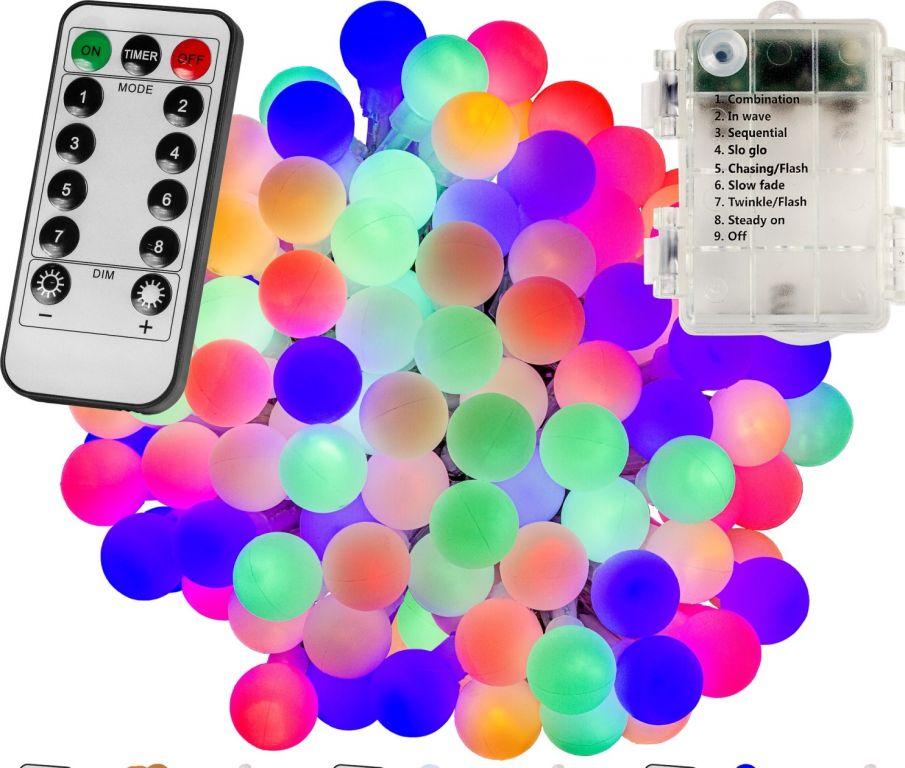 Párty osvětlení – 5 m, 50 LED diod, barevné, na baterie
