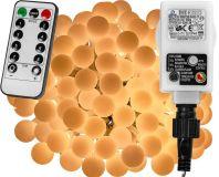Párty osvětlení - 5 m, 50 LED diod, teple bílé + ovladač