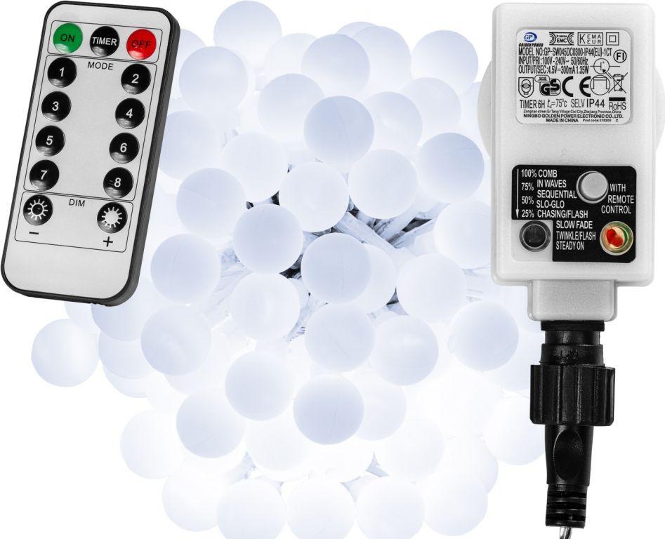 Párty osvětlení - 5 m, 50 LED diod, studeně bílé + ovladač