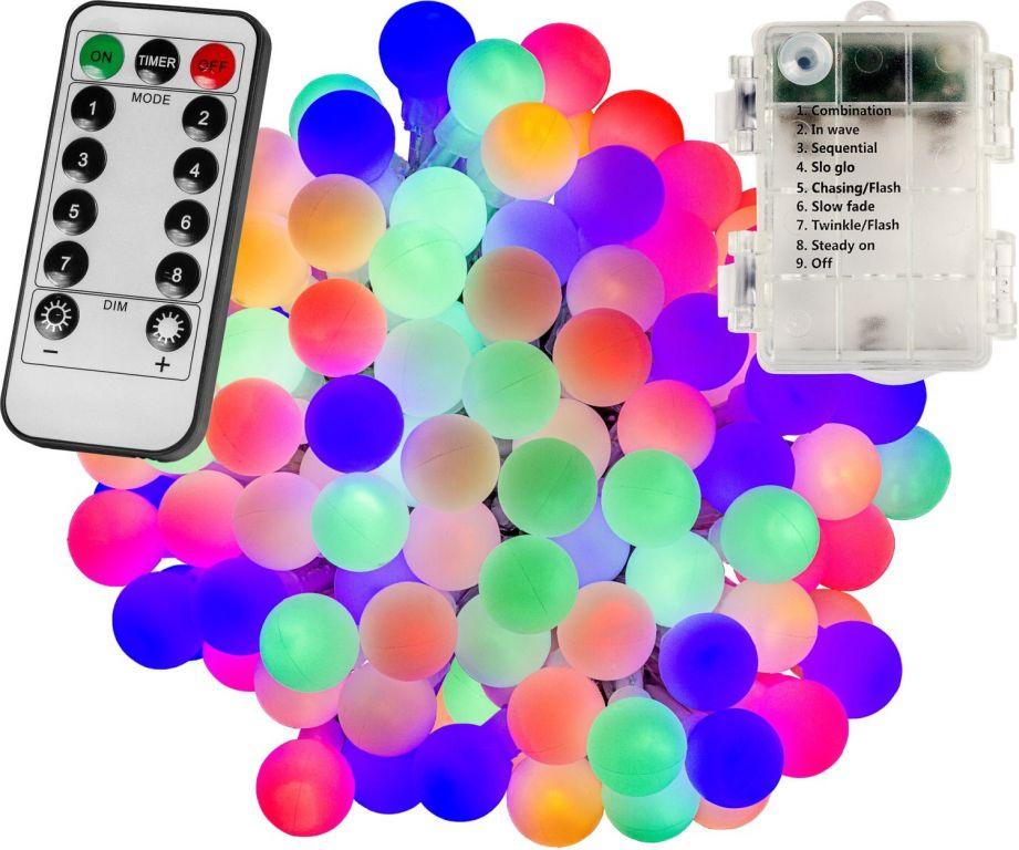 Párty osvětlení – 10 m, 100 LED diod, barevné, na baterie