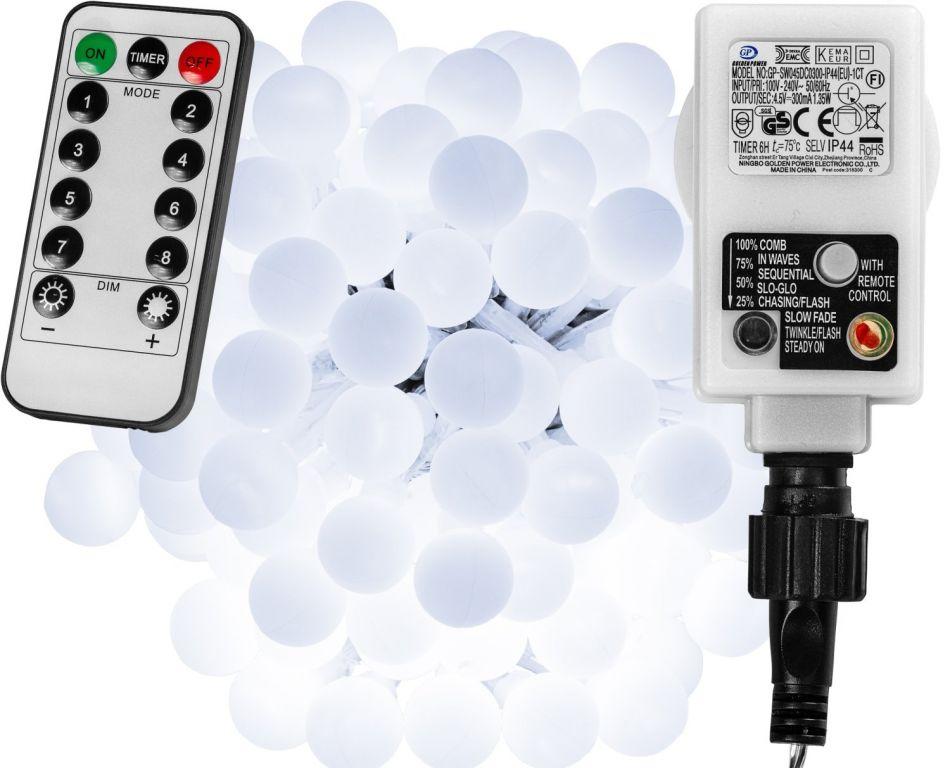 Párty osvětlení - 10 m, 100 LED diod, studeně bílé + ovladač