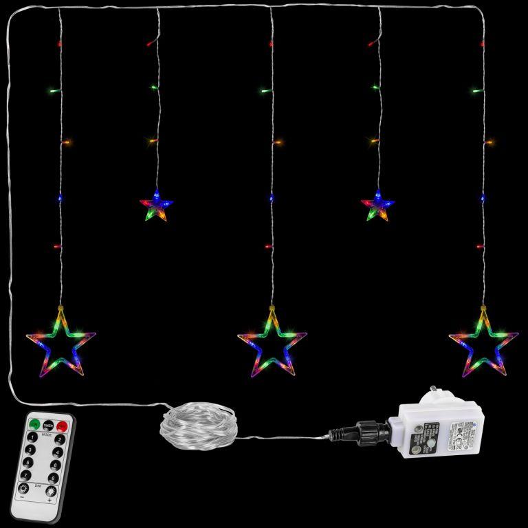 Vánoční závěs - 5 hvězd, 61 LED, barevný + ovladač
