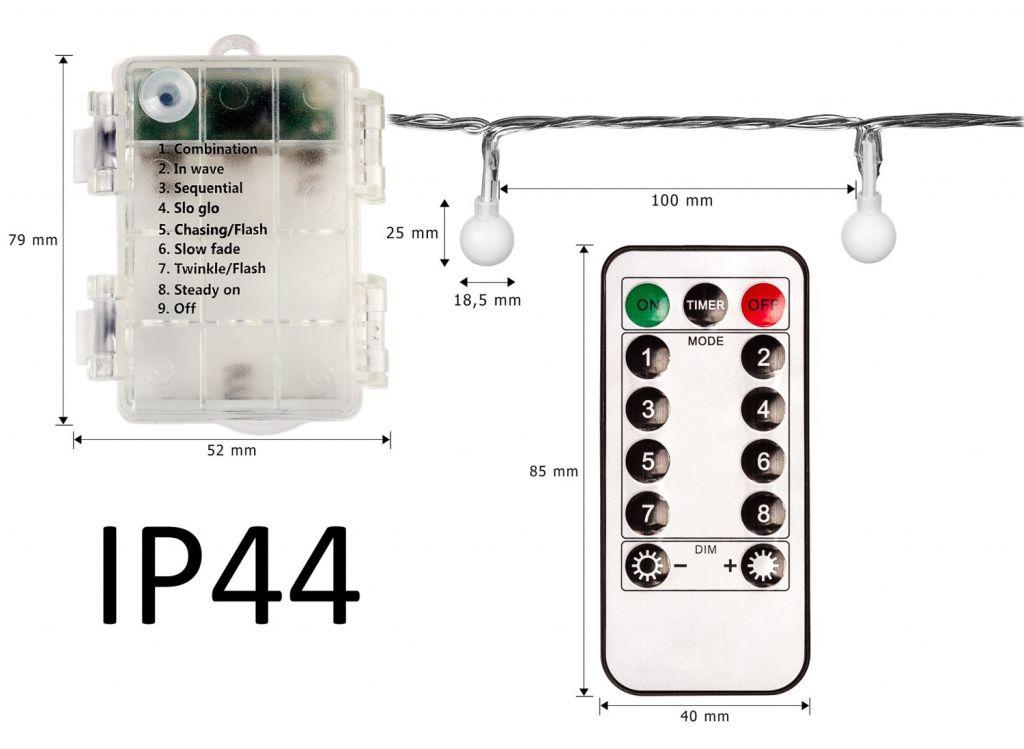 Párty osvětlení - 20 m, 200 LED diod, teple bílé, na baterie