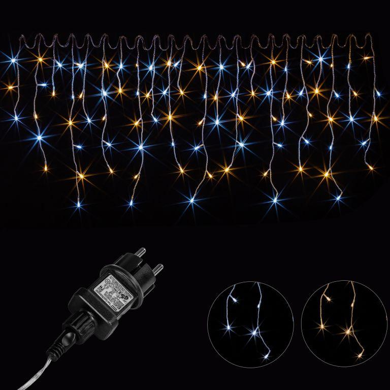 Vánoční světelný déšť – 5 m, 200 LED, teple / studeně bílý