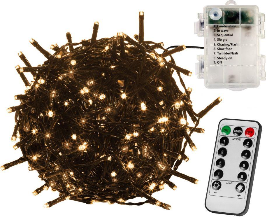 VOLTRONIC Vánoční řetěz 10 m, 100 LED, teple bílý + ovladač
