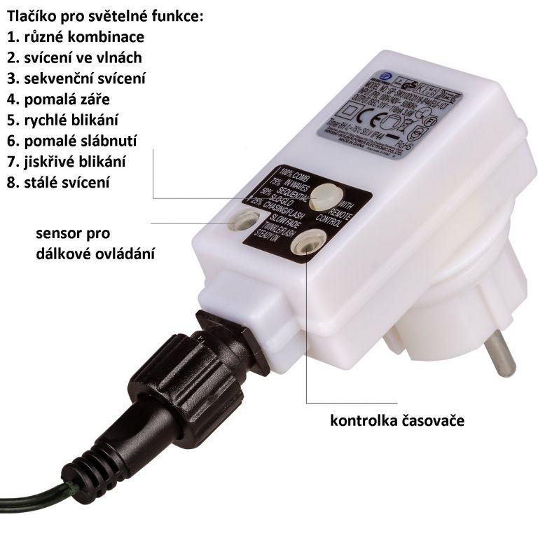 VOLTRONIC Vánoční řetěz - 100 LED, teple/stud.bílý + ovladač