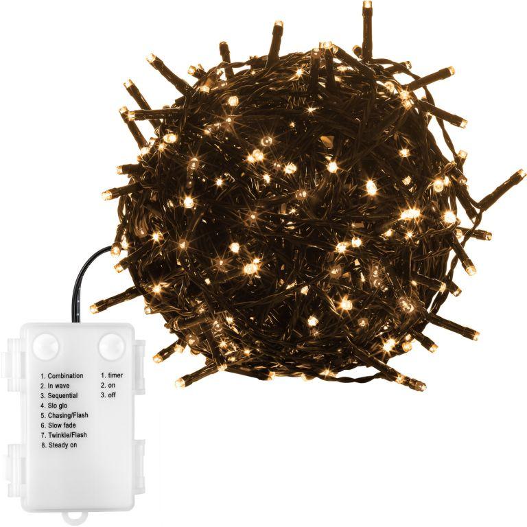 Vánoční řetěz - 10 m, 100 LED, teple bílý, na baterie