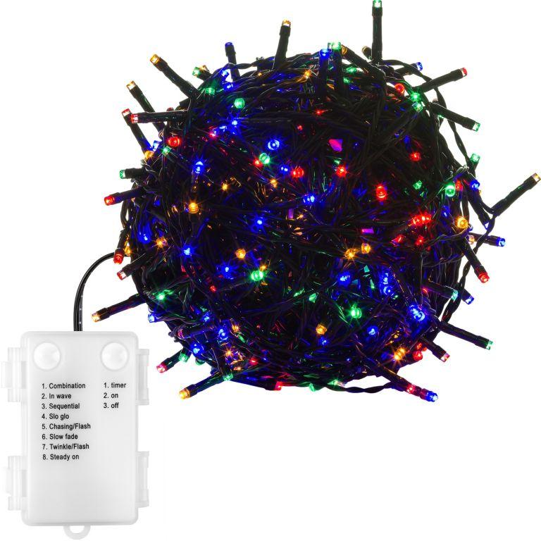 Vánoční řetěz - 20 m, 200 LED, barevný, na baterie