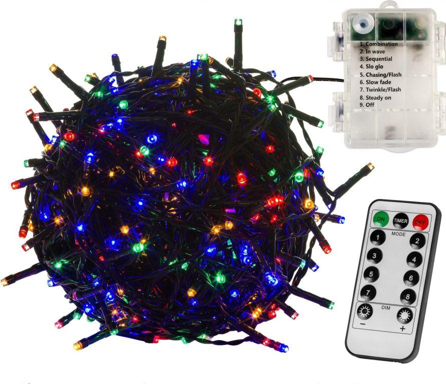 Vánoční osvětlení 5 m - barevný 50 LED na BATERIE + ovladač