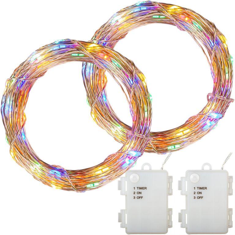 Sada 2 ks světelných drátů, 50 LED, barevná