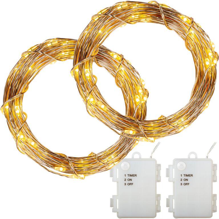 Sada 2 kusů světelných drátů - 100 LED, teplá bílá