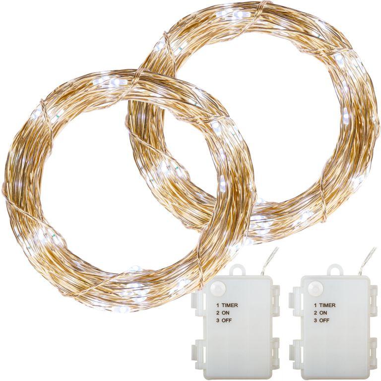 Sada 2 kusů světelných drátů - 100 LED, studená bílá