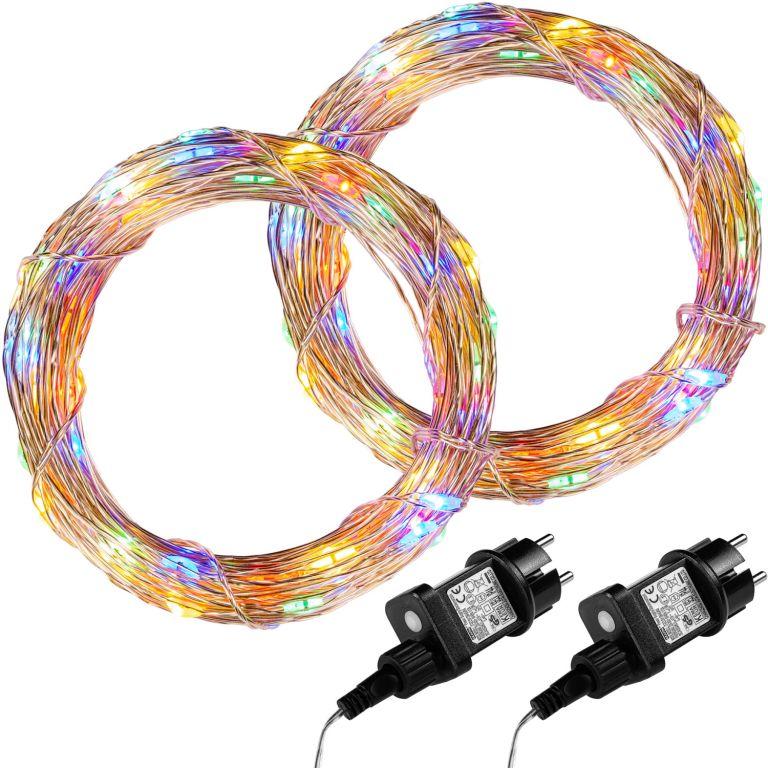 Sada 2 kusů světelných drátů - 100 LED, barevná