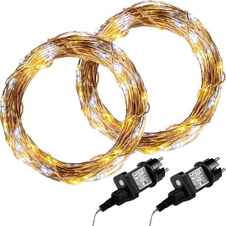 Sada 2 kusů světelných drátů 50 LED - teplá / studená bílá