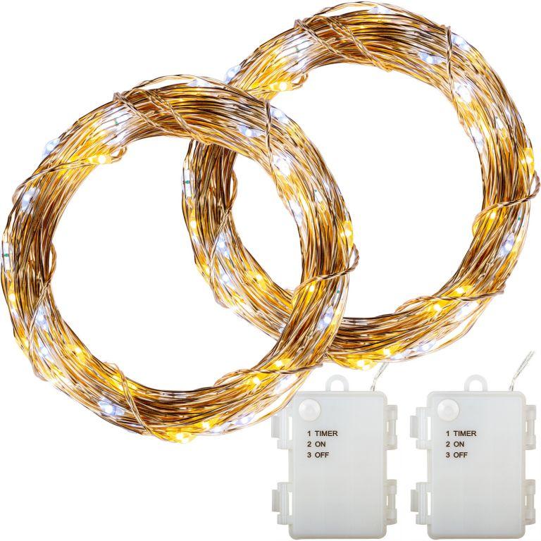 Sada 2 kusů světelných drátů, 200 LED, teple/studeně bílá