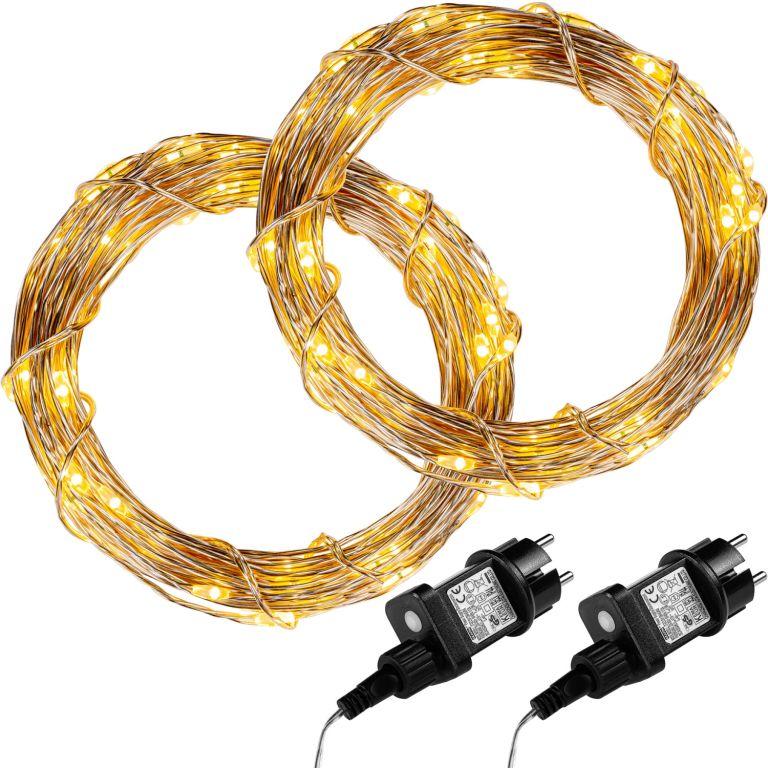 Sada 2 kusů světelných drátů 200 LED - teplá bílá