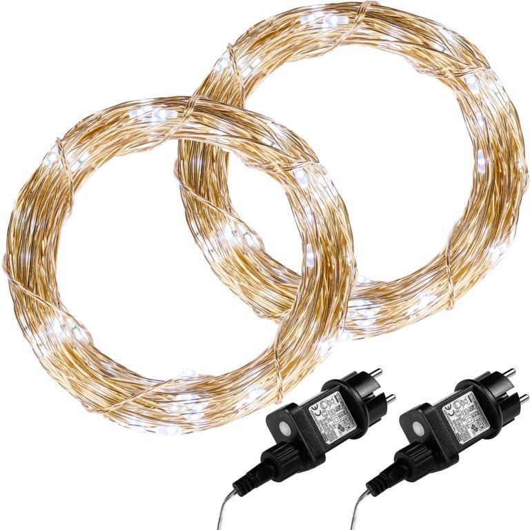 Sada 2 kusů světelných drátů 200 LED - studená bílá