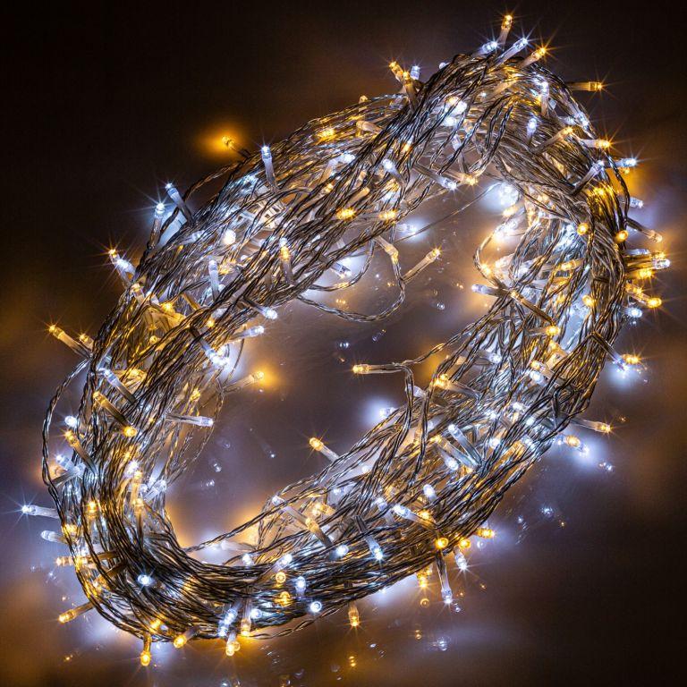 Vánoční světelný závěs - 3x6 m, 600 LED, teple/studeně bílý