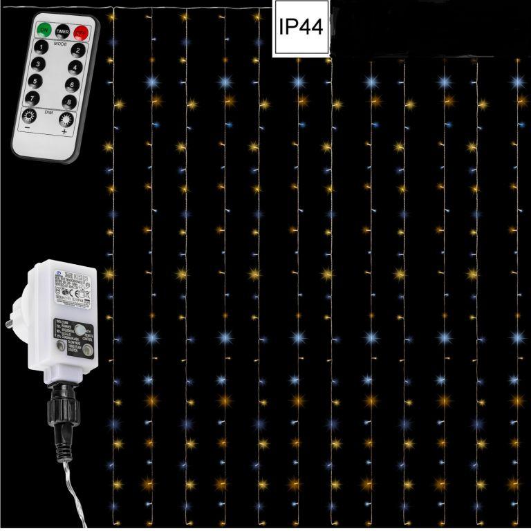 Vánoční světelný závěs 600 LED - 3x6 m, teple/studeně bílý