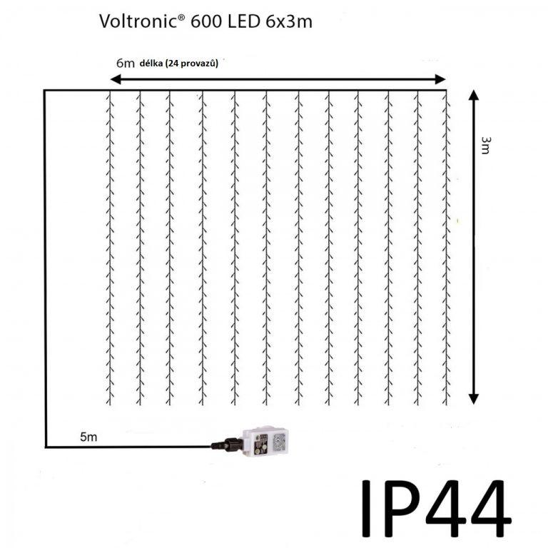 Vánoční světelný závěs - 6 x 3 m, 600 LED, studeně bílý