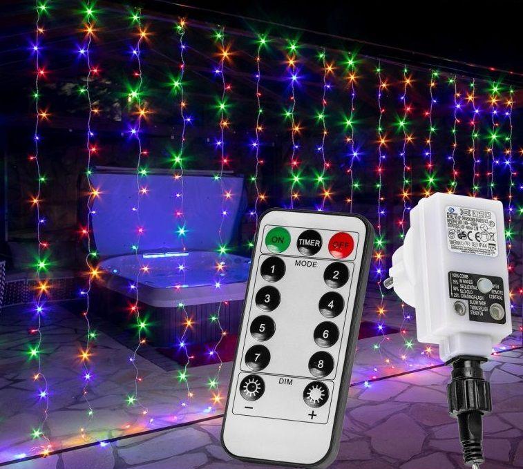 Vánoční světelný závěs – 6 x 3 m, 600 LED, barevný