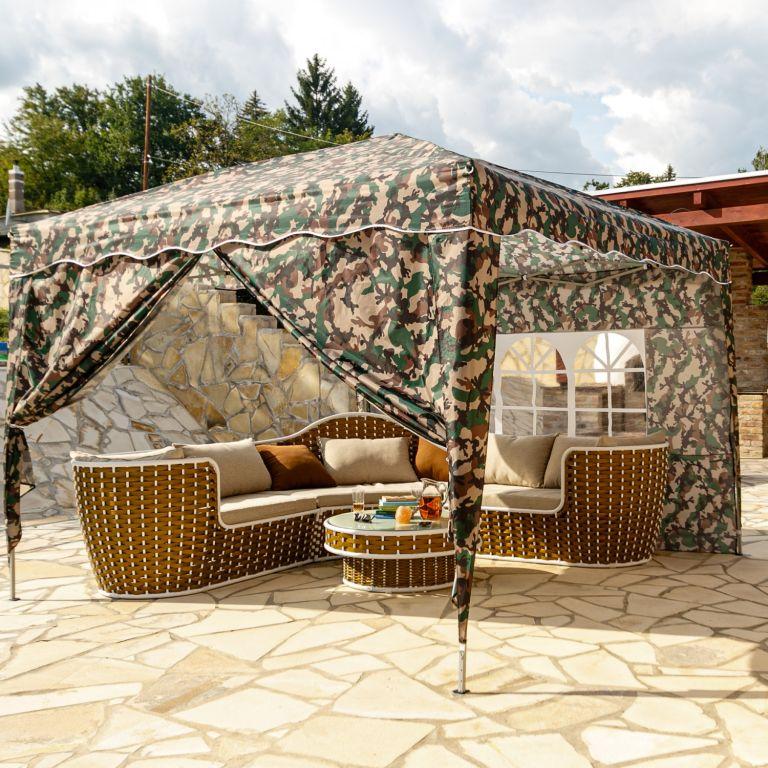 Instent zahradní párty stan – 3 x 3 m, maskáčová + 2 bočnice