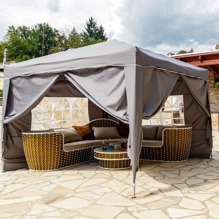 Instent zahradní párty stan – 3 x 3 m, antracit + 4 bočnice