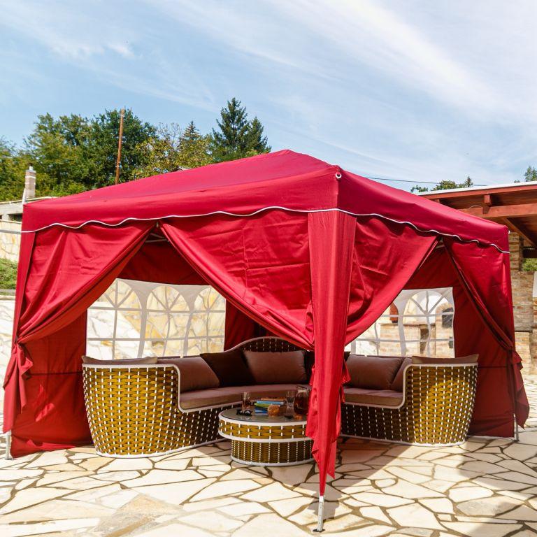 Instent zahradní párty stan – 3 x 3 m, vínová +  4 bočnice