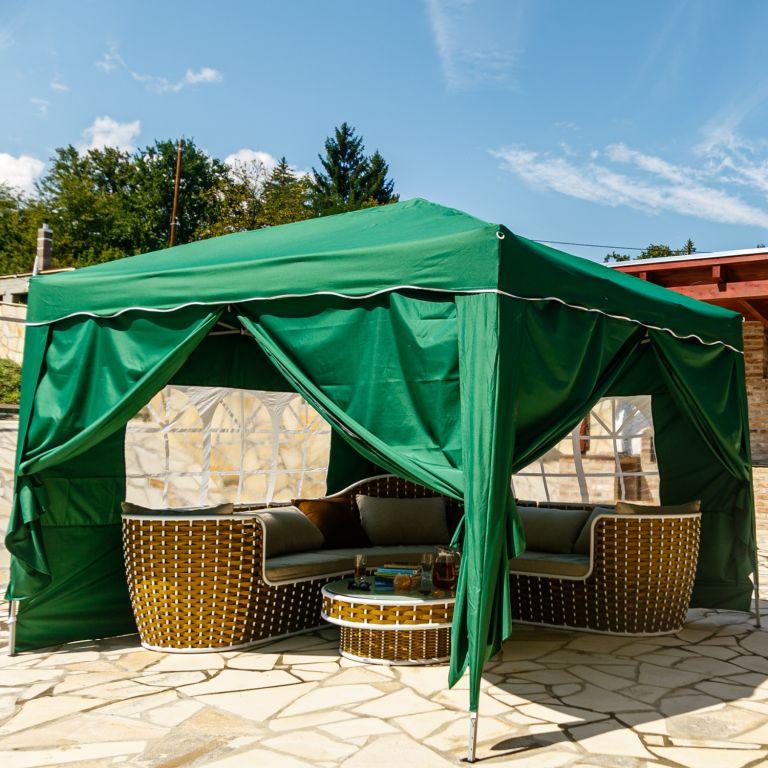 Zahradní párty stan – 3 x 3 m, zelený + 4 bočnice