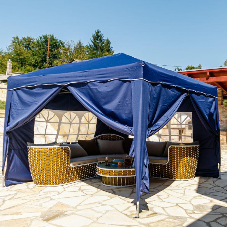 Instent zahradní párty stan – 3 x 3 m, modrý + 4 bočnice