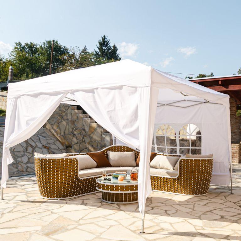 Instent zahradní párty stan – 3 x 3 m, champagne + 2 bočnice