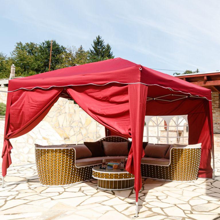 Instent zahradní párty stan – 3 x 3 m, vínová + 2 bočnice