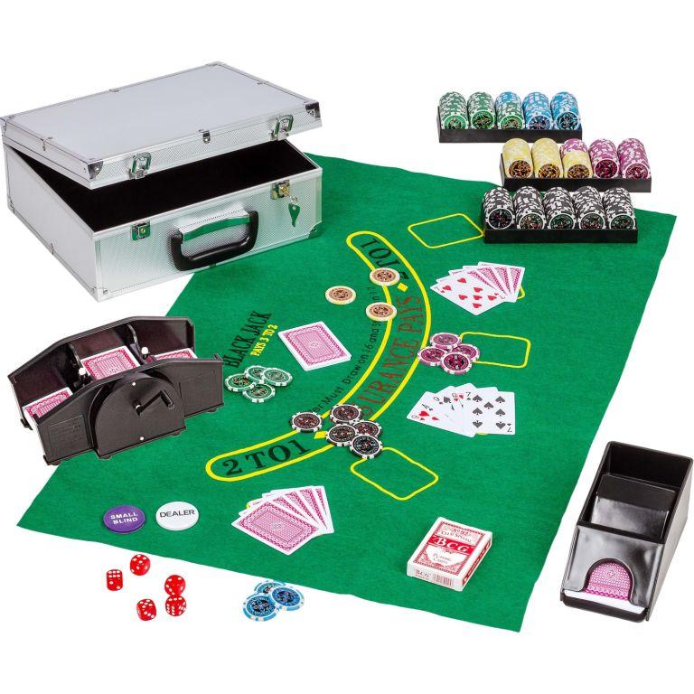 Poker set, 300 žetonů + míchačka karet