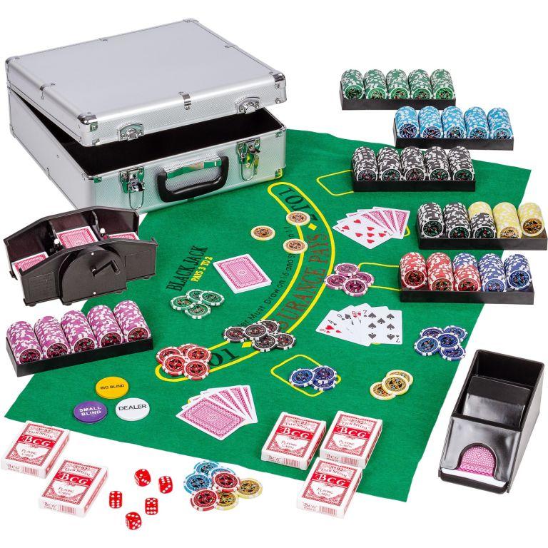 Poker set, 600 žetonů + míchačka karet