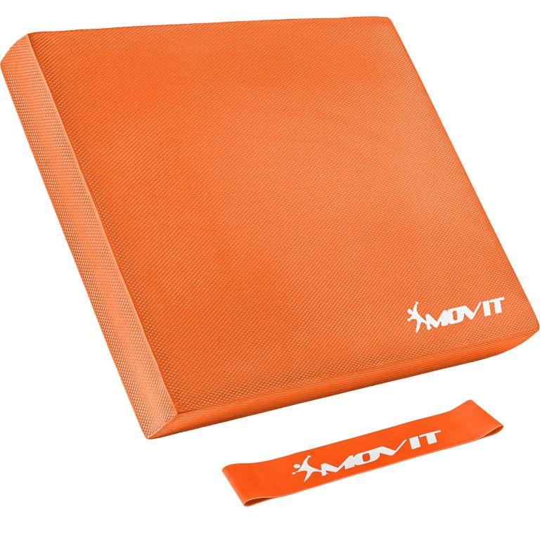 Balanční polštář s gymnastickou gumou - oranžová