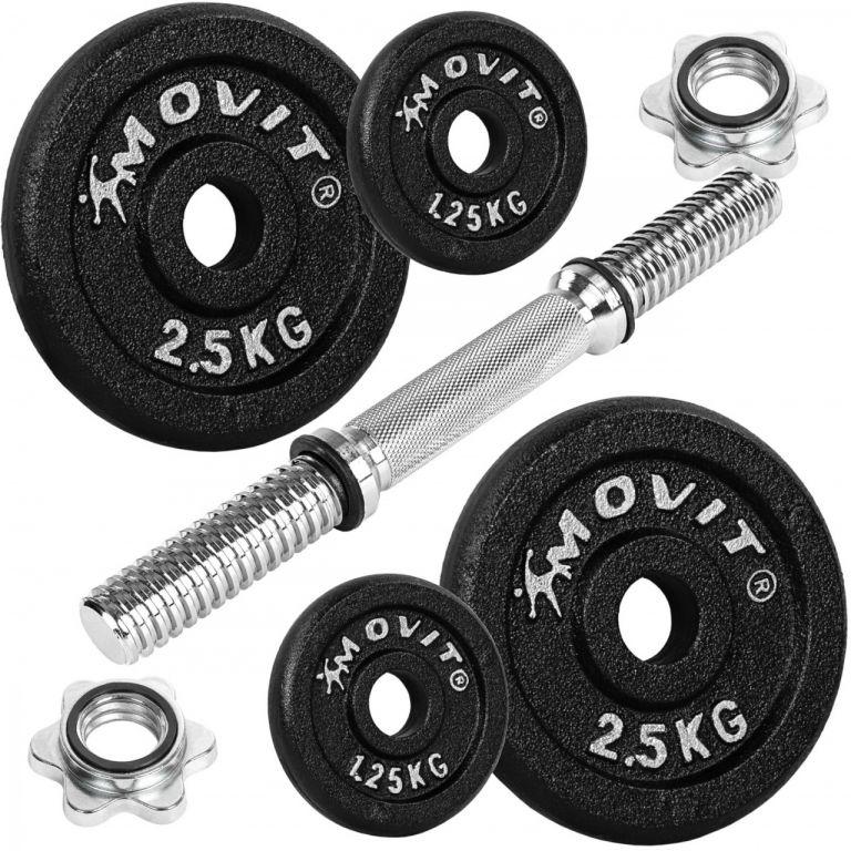 Jednoruční litinová činka MOVIT - 10 kg